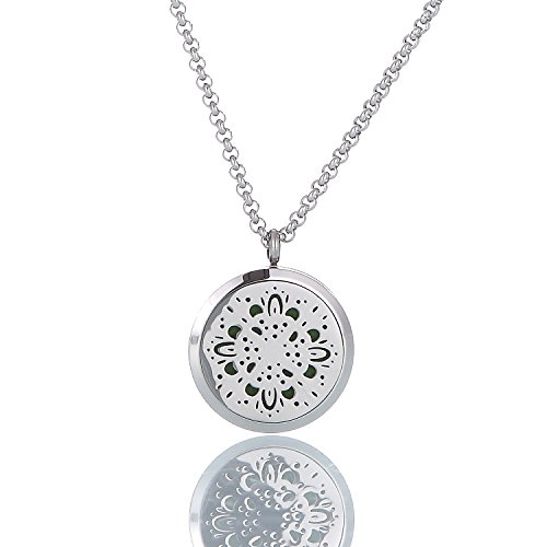 Dream Lassie Carving Aromatherapy Essential Oil Diffuser Locket Pendant Necklace for Womens Two Chains and 8 Pads Include (Replacement Diffuser Inner)