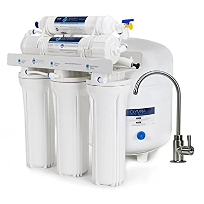 Olympia Water Systems OROS-50 5-Stage Reverse Osmosis Water Filtration System with 50GPD Membrane - Brushed Nickel Faucet