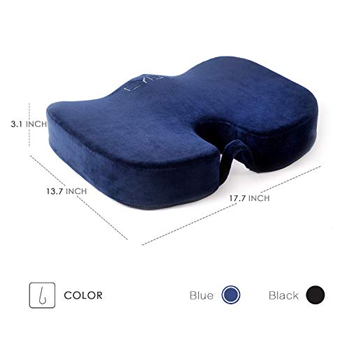 CYLEN -Memory Foam Bamboo Charcoal Infused Ventilated Orthopedic Seat Cushion for Car and Office Chair - Washable & Breathable Cover (Navy Blue) by CYLEN (Image #2)