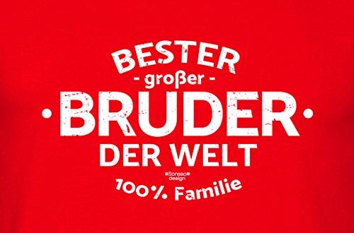 Bruder Geschenkeset Fun-T-shirt zu Weihnachten oder zum Geburtstag mit GRATIS Urkunde - Bester großer Bruder der Welt Farbe: rot Gr: 3XL
