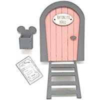 Puerta Ratoncito Pérez rosa de madera, con escalera,buzón y certificado.Producto artesanal hecho en España