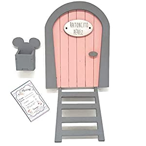 Puerta Ratoncito Pérez rosa de madera, con escalera,buzón y certificado.Producto artesanal hecho en España 10