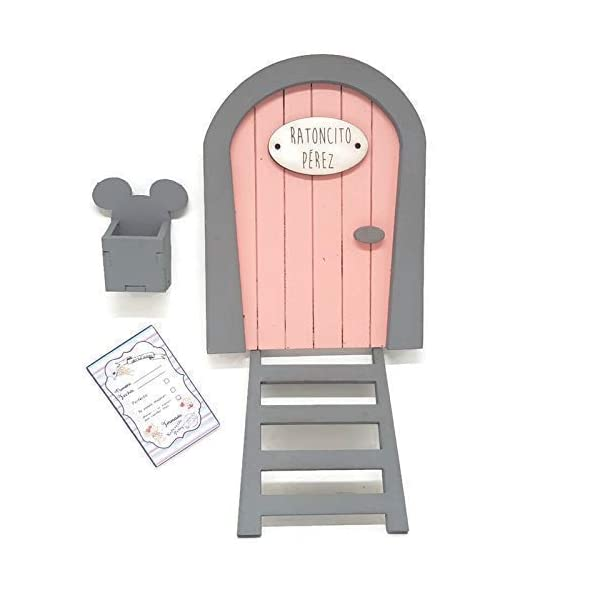 Puerta Ratoncito Pérez rosa,con escalera,buzón y certificado 2