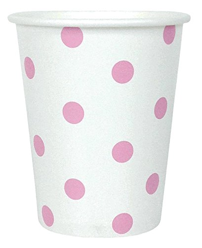 Just Artifacts Party Paper Cups - (12pcs) Baby Pink Polka Dot - Paper Decorations for Birthday Parties, Weddings, Baby Showers, and Life Celebrations! -