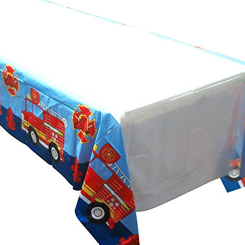 Blue Orchards Fire Truck Tablecovers (2), Fire Engine Party Supplies, Firefighter Events