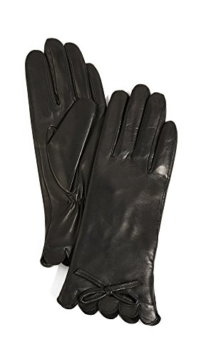 Kate Spade New York Women's Scallop Leather Gloves, Black, Medium by Kate Spade New York