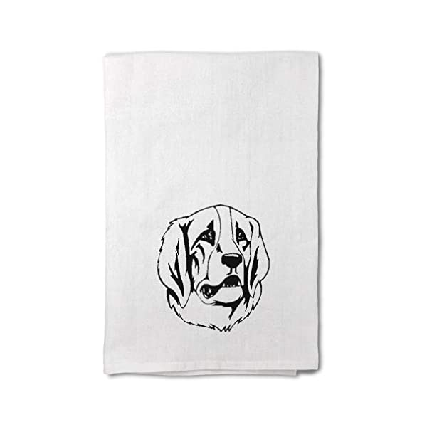Style In Print Custom Decor Flour Kitchen Towels Pyrenean Mastiff Head Black Pets Dogs Cleaning Supplies Dish Towels Design Only 1