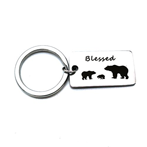 1 Mama Pendant (Udolove Mama Bear Keychain with Cubs Blessed Family Keyring Dog Tag Jewelry Gift for Mom Dad (blessed family - 1 cub))