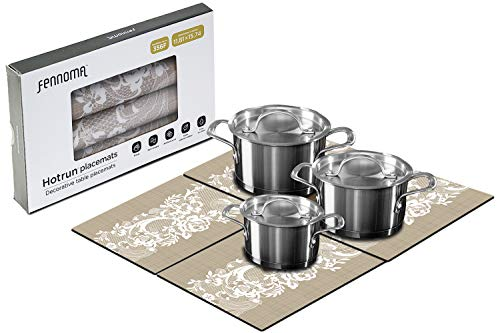 HOTRUN modular table runner placemat set– Extendable table cover holds pots and tableware – Protects surfaces– Anti-slip material handles up to 356 degrees F – Multi-use party set  (natural & lace)