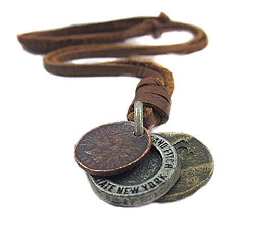 Men's Vintage Punk Rock Style Camera Shape Leather Necklace Chain Cowboy Jewelry (Coffee Coins) - Men Leather Necklaces Pendants