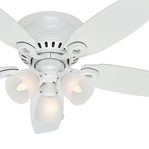 Hunter Fan 46in Snow White Finish Ceiling Fan with Clear Frosted Glass Light Kit (Renewed)