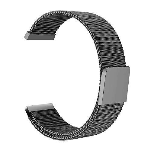 (Chriffer Watch Band, Milanese Loop Magnetic Closure Stainless Steel Watch Band Replacement Strap for Chriffer Smart Watch with Free Spring Bar Removal Tools,Black)