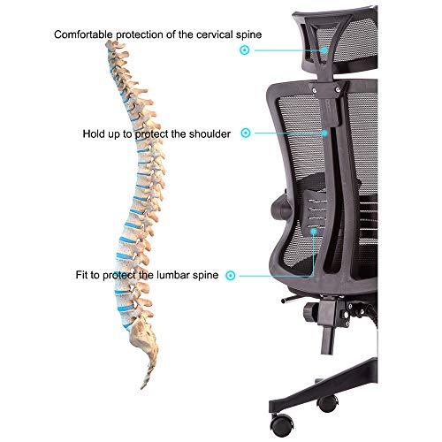 Ergonomisk kontorsstol, högrygg roterande vilstol med armstöd, 155° bakåtlutning, nackstöd och ryggstöd, andningsbart nätryggstöd, utan fotpall – vit