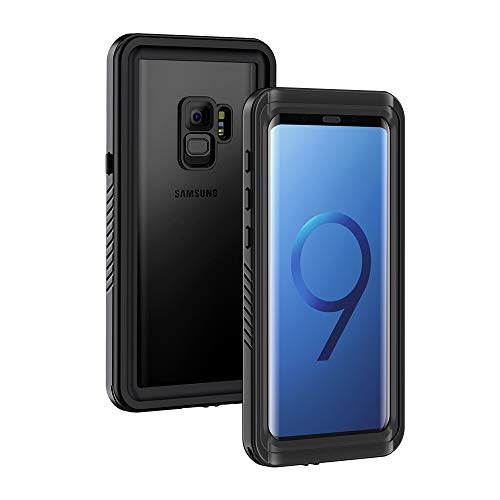 Galaxy S9 Case, Lanhiem IP68 Waterproof Dustproof Shockproof Full Body Sealed Underwater Protective Cover with Built-in Screen Protector for Samsung Galaxy S9 (Black)
