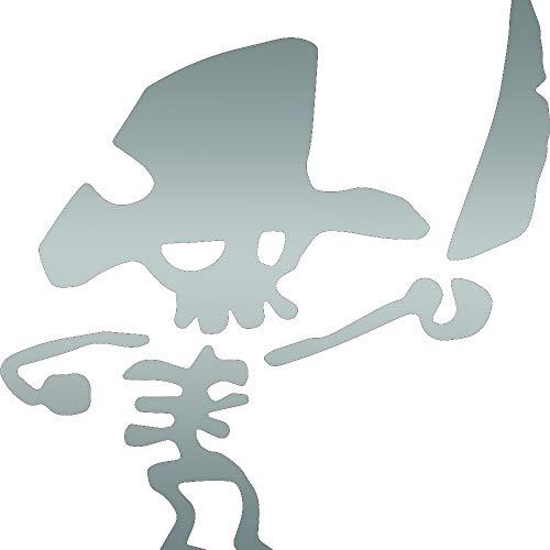 ANGDEST Pirate Skeleton (Metallic Silver) (Set of 2) Premium Waterproof Vinyl Decal Stickers for Laptop Phone Accessory Helmet CAR Window Bumper Mug Tuber Cup Door Wall Decoration