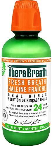 TheraBreath Fresh Breath Oral Rinse - Mild Mint | Fights Bad Breath | Certified Vegan, Gluten-Free, & Kosh