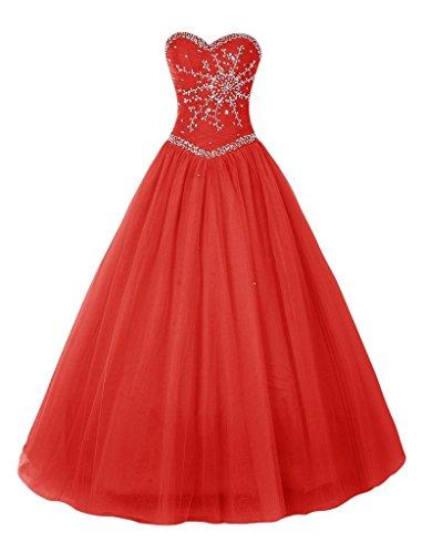 Lang Herzausschnitt Stickreien mia Traegrlos linie Abendkleider La Rot Braut A Quincenera ballkleider Abiballkleider wqTaP1