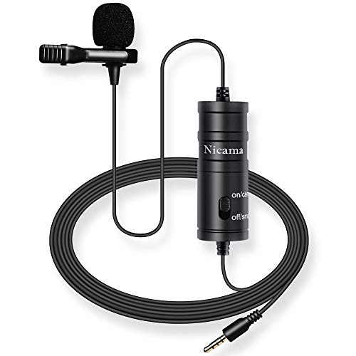 Lavalier Microphone with 6M Cable for iPhone iPad Smartphones Canon Nikon DSLR Cameras Camcorders Audio Recorder PC Zoom