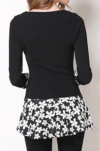 Short Dress Long Sleeve Casual Splice Slim Black Cruiize Crewneck Womens Printing q1F84