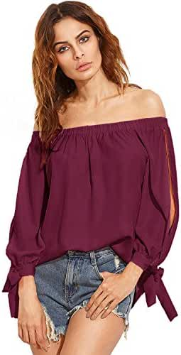 ZANZEA Women's Off The Shoulder Split Knotted Long Sleeve Blouse Loose Boat Neck Tie Cuff Top Shirts