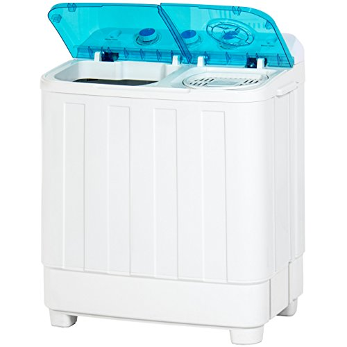 Best Choice Products Portable Mini Twin Tub Compact Washing Machine and Dryer Combo, 18-Pound Load Capacity, w/ 15-Minute Timer, Drain Hose, Spin Dry Cycle, White/Blue