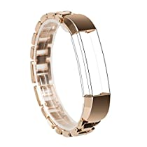 For Fitbit Alta Band, Wearlizer Smart Watch Metal Wristband Replacement Strap Bracelet for Fitbit Alta - Rose Gold