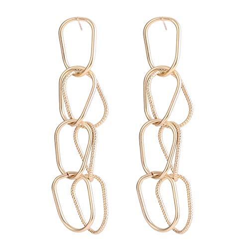 Interlocking Hoops Earring Drop Swirl Circle Link Genetic Copper 18K Gold Plated 925 Sterling Silver (HB004L)