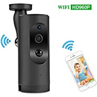 WiFi Security IP Camera Battery-Powered Wireless 960P HomeSecurityCamera with Motion Detection and Two-way Audio & Night Vision (Black)