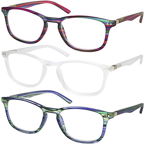 Success Eyewear Reading Glasses 3 Pair Striped Design Readers Quality Spring Hinge Glasses for Reading for Men and ()