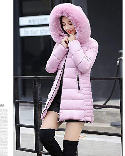 Elegante Abrigos Bolsillos Larga Laterales Mujer Colores Parkas Rosa Hipster Cremallera Huixin Modernas Plumas Con Caliente Sólidos Manga Outerwear Invierno FwWgZcvqt