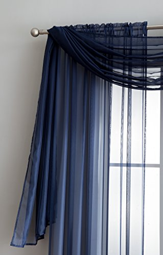 LinenZone Amazing Sheer Window Scarf Fabric Sheer Voile curtain for Window Treatment - Add to Window Curtains for Enhanced Effect (56