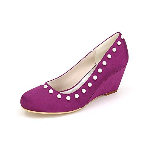 L@YC Frauen Slip Ferse Schuh Big Size High Heels Hochzeit Schuhe 9140-01 Custom Kleider Purple