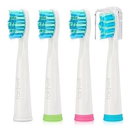 Fairywill Pearl White Cepillos para cepillos de dientes Sonic con cabezal de soldadura x4 para el blanco cepillo de dientes FW507, FW917, FW508, FW959 ...