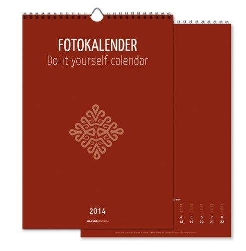 Foto-Bastelkalender 2014 datiert, rot: Do it yourself calendar