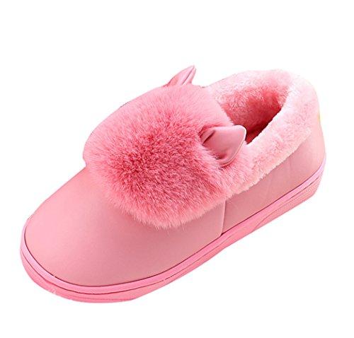 Icegrey Unisex Zapatillas De Estar Por Casa Calientes felpa de piel sintética Con 3D Vaca Botas De Interior Para La Pareja Rosado