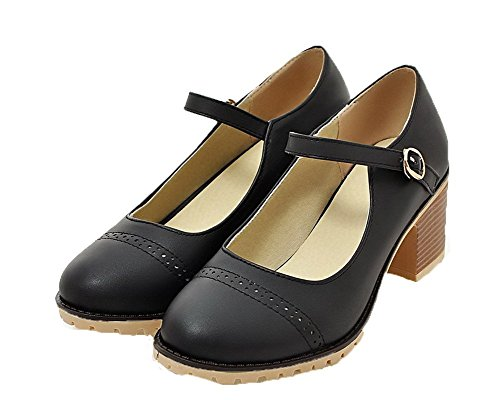 Flats Solid Donna Nero AgooLar Ballet Medio Fibbia Tacco GMMDB006763 wqYxn1xt