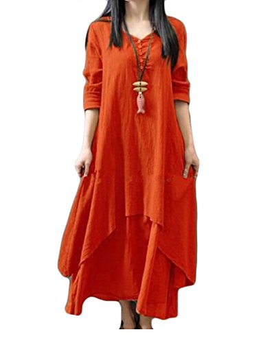 Orange Summer Faux Plus Linen Maxi Coolred Twinset Dress Cotton Loose Size Women w6p6SqRx