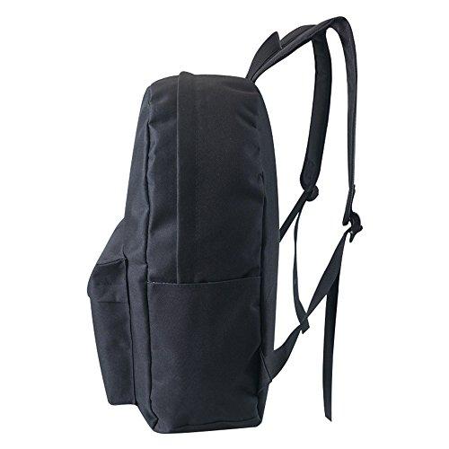 Buzzfashion Einfarbig Leichte Schule Laptop PC Schulter Tasche Canvas Kausalen Modische Rucksack Grau Schwarz