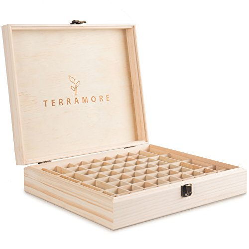 Essential Oil Case / Box by Terramore. Large 68 Bottle Storage Organizer. Natural Pine Wood. Holds 56ea 5-15ml Bottles And 12ea Roll-On Bottles.