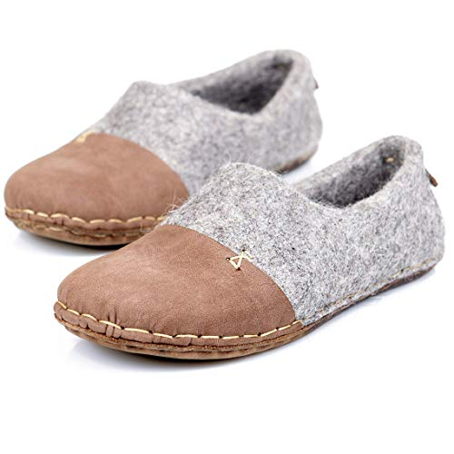 1b2cefb01c30a BureBure Felted Wool Men Clogs with Natural Edge Leather Handmade in Europe