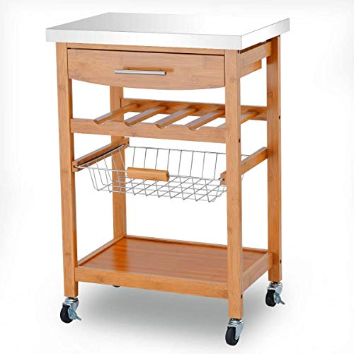 Pastel Kitchen Island Cart Storage Cabinet Rolling Trolley Bamboo Wine Rack Stainless Steel Top 23 L x 16 W x 33.5 H in