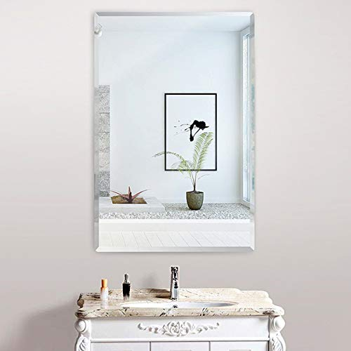 KOHROS Rectangular Beveled Polished Frameless Wall Mirror for Bathroom, Vanity, Bedroom (18