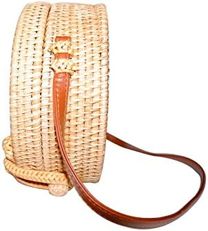 8de21a88ccc416 Happy Lily Women Handwoven Round Rattan Bag, Round Woven Straw Bag, Round  Purse, Circle Tropical Beach Crossbody Bag with Cotton Fabric Inside and  Cross ...
