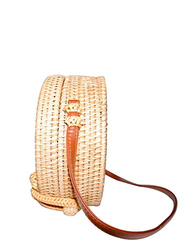 Happy Lily Women Handwoven Round Rattan Bag, Round Woven Straw Bag, Round Purse, Circle Tropical Beach Crossbody Bag with Cotton Fabric Inside and Cross Clasp (black ()