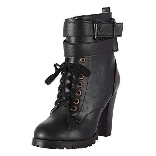 JESPER Women Faux Leather Round Toe Ankle Boots Lace-Up Shoes High Block Heel Logger Boots Black