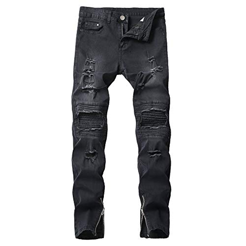 (HEFASDM Mens Ripped Zip Up Denim Pants Stonewashed Relaxed-Fit Jeans Black 27)