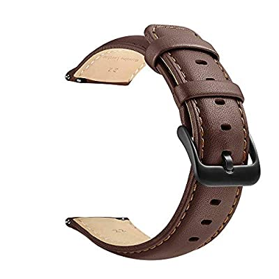 20mm Watch Band, 22mm Watch Band, LEUNGLIK Quick Release Leather Watch Bands with Black/Brown/Gray Stainless Pins Clasp by LEUNGLIK