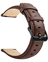 22mm Watch Strap, LEUNGLIK Quick Release Leather Watch Strap Replacement Bands with Black/Brown/Gray Stainless Pins Clasp