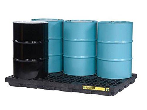 Justrite 28659 EcoPolyBlend 73 Gallon Sump, 73'' x 49'' x 5.5'' (WxDxH) Black 6 Drum Modular Accumulation Centers