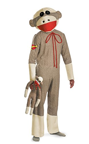 Sock Monkey Costumes (28686 XL 42-46 Adult Sock Monkey Costume Chimp Costume Unisex Disguise)